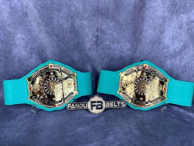 NWA World Women's Tag Team Belts, produced by Fandu Belts